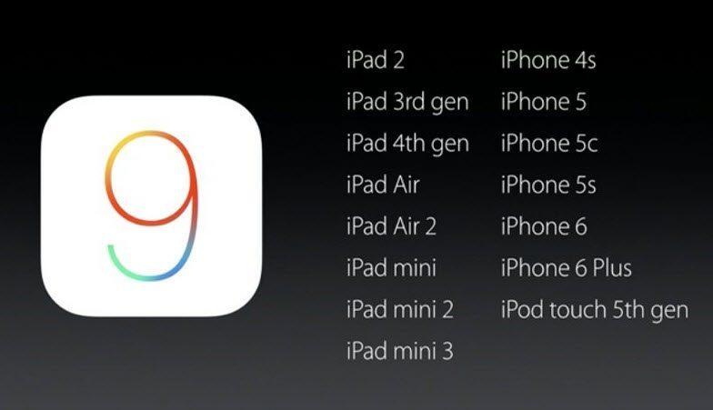 IOS 9'u destekleyen cihazlar
