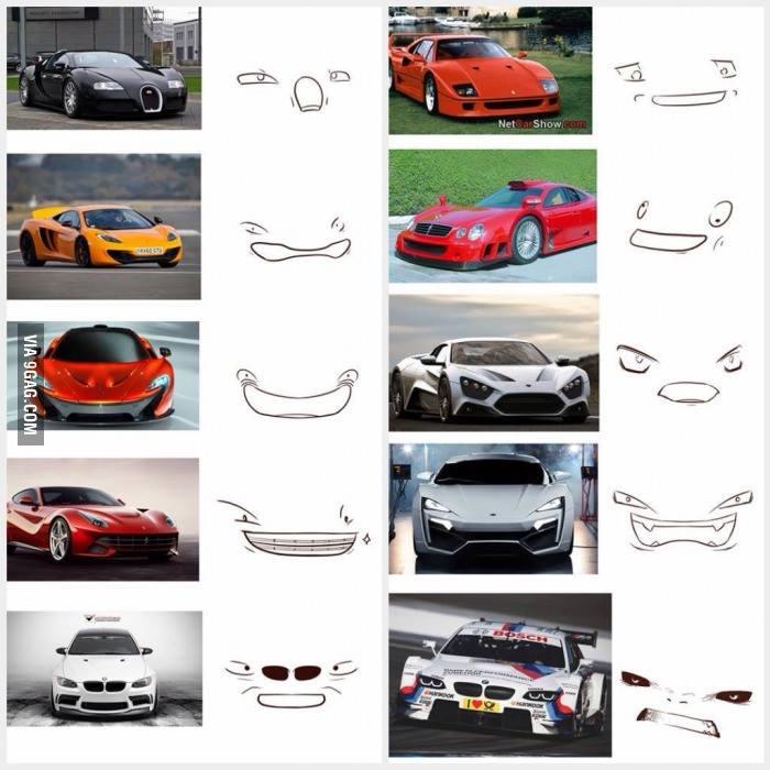 İnsan yüzüne benzeyen arabalar